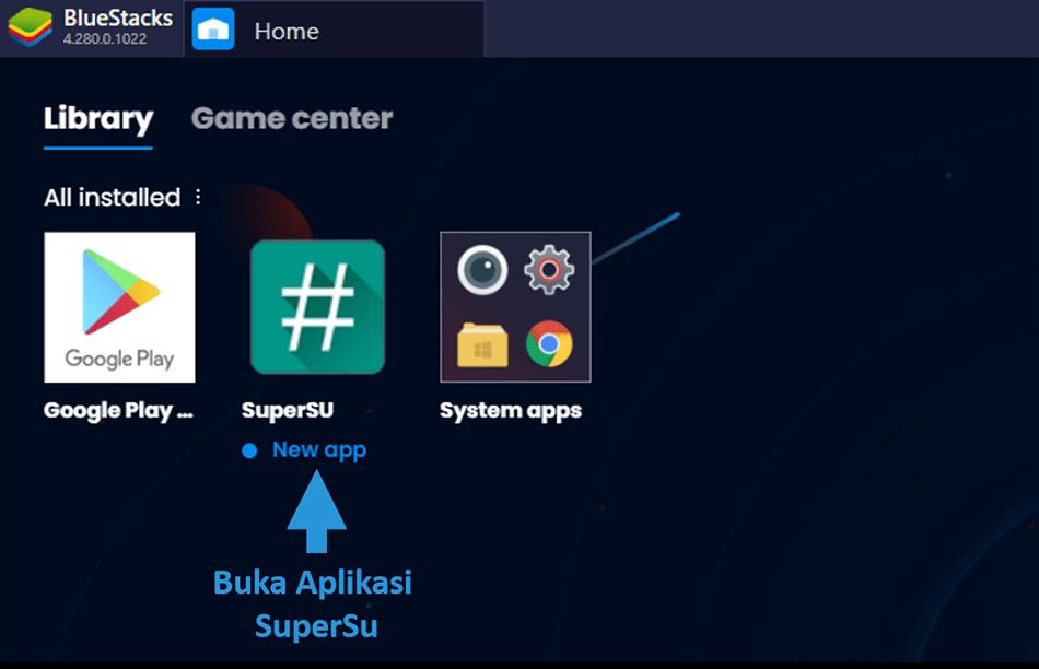 Contoh Buka SuperSu di BlueStack