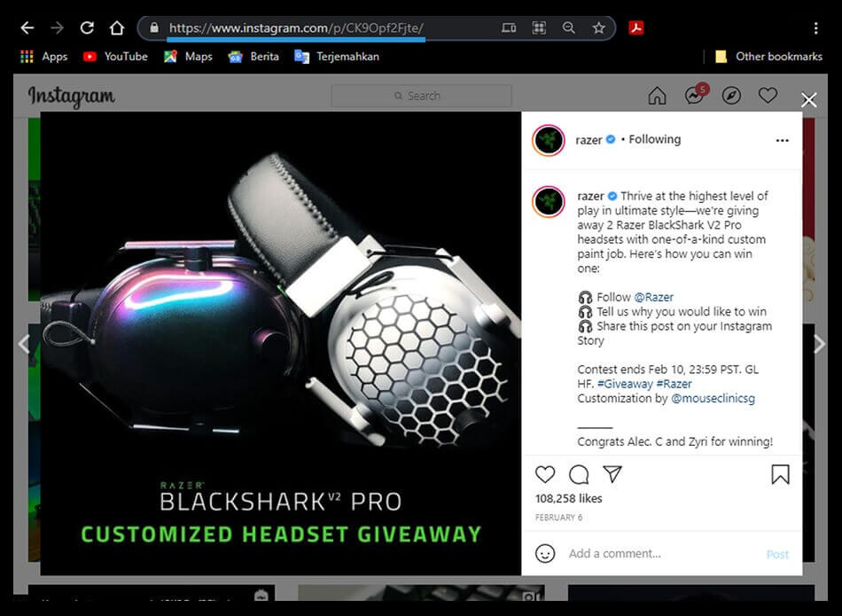 Link Postingan Instagram PC