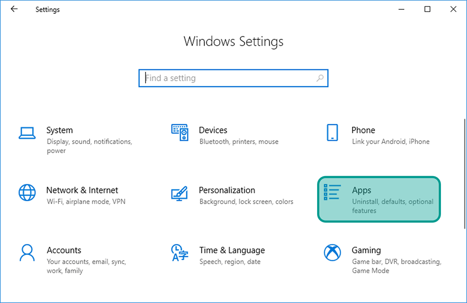 Menu Apps di Windows Settings