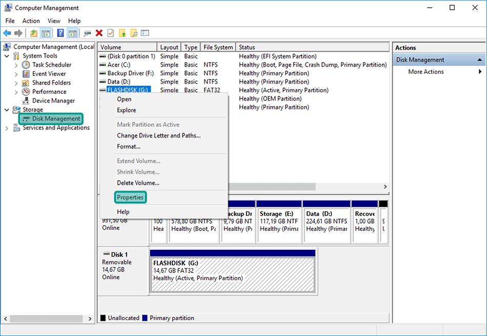 Pilih Properties Pada Disk